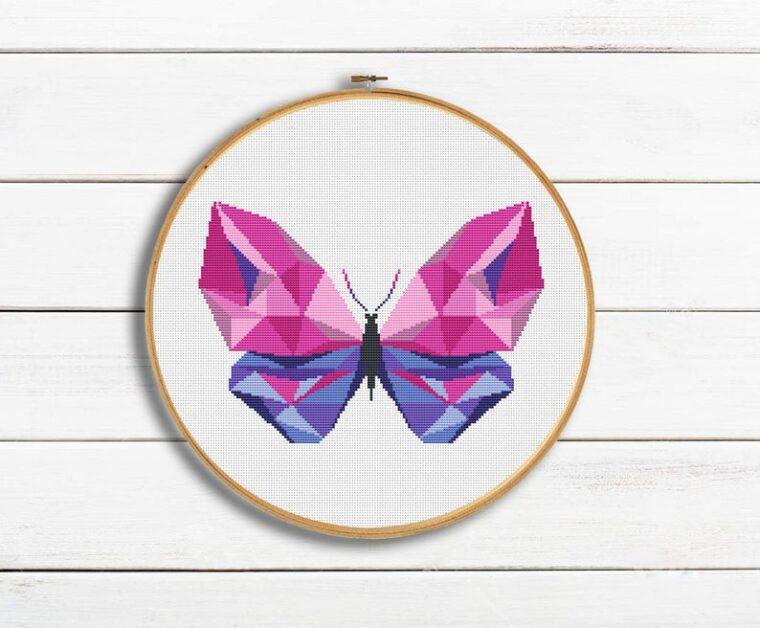 Beautiful geometric butterfly PDF cross stitch pattern