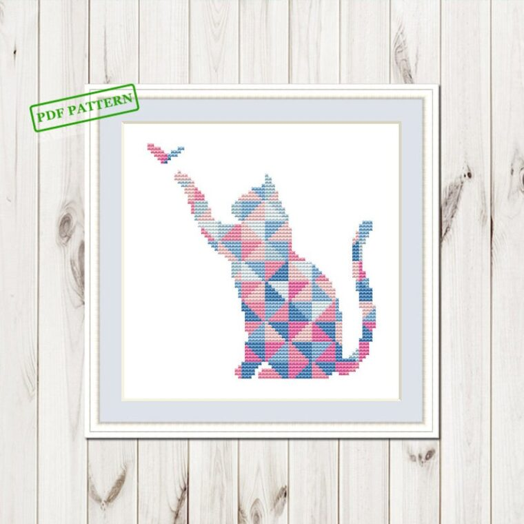 The sweetest geometric cat cross stitch pattern. Embroidery for cat lovers. 23 Geometric animal embroidery patterns