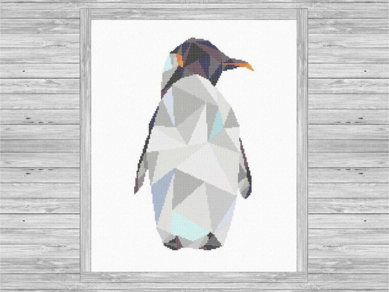 23 Adorable geometric animal embroidery patterns. Cute penguin cross stitch pattern