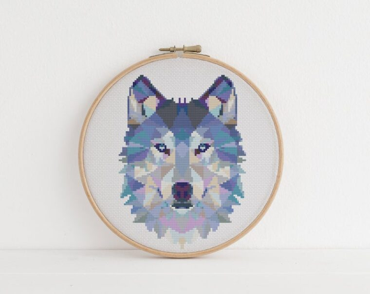 Majestic geometric wolf cross stitch pattern. 23 patterns for beginners