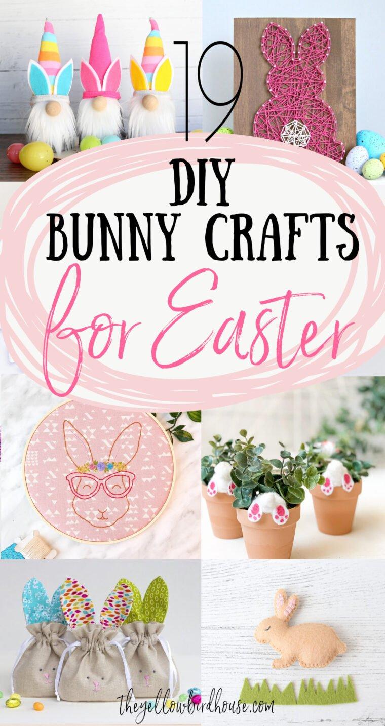 19 Easy DIY Bunny crafts for Easter or Spring. Fun Bunny baskets, decor, pillows and embroideries to make for Easter. Easy bunny crafts for kids to make. Springtime decor ideas.