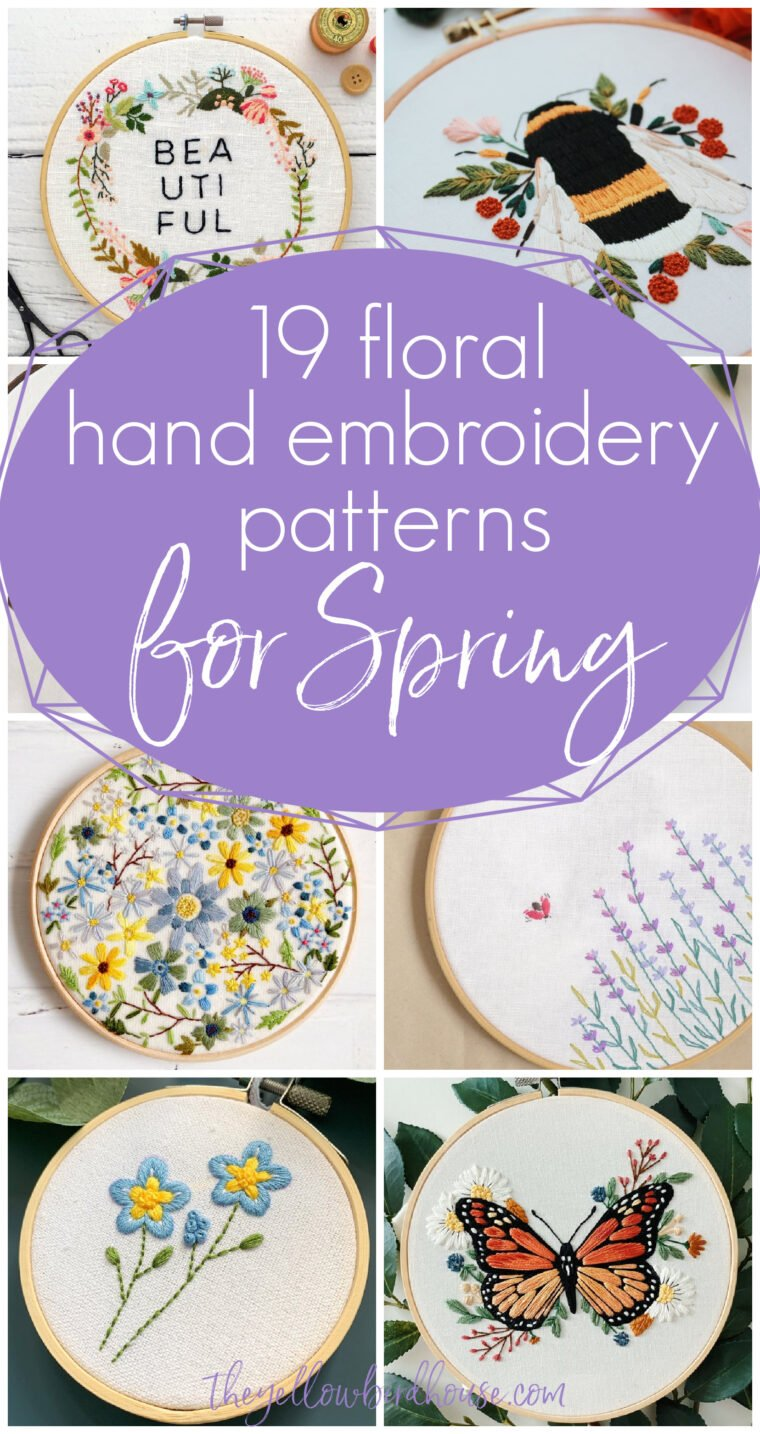 19 Floral Hand Embroidery Patterns for Spring. Make a beautiful Springtime decor piece with one of these gorgeous flower embroidery designs. Unique hand embroideries perfect for Spring, Easter or Mother's Day. Stunning floral accented bees, butterfly, wreaths, bikes and more.