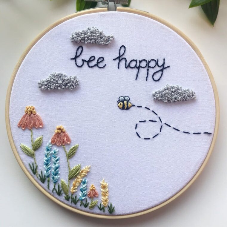Bee Happy hand embroidery pattern for Spring or Easter