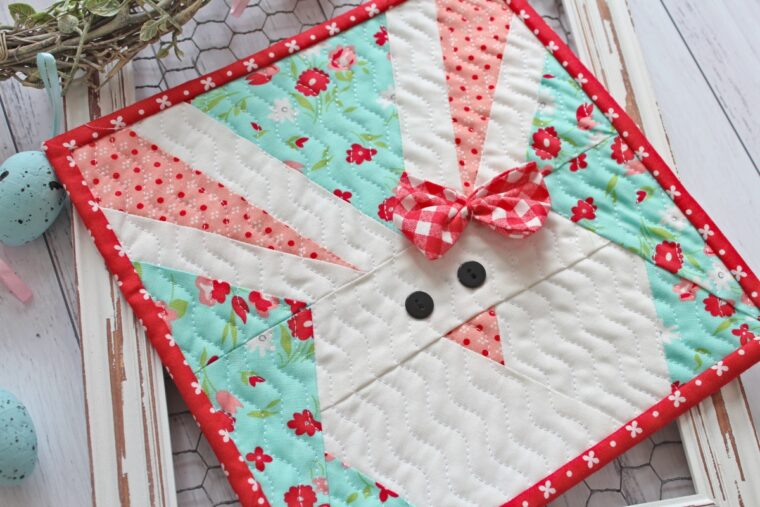19 DIY Bunny crafts to make or sew. How to make a paper pieced bunny quilt block