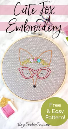 Cute Fox Embroidery with Free Pattern Download. Make this adorable fox embroidery with instructions on floral stitches. Free embroidered animal pattern. Easy to follow tutorial for making this beautiful woodland hoop art.