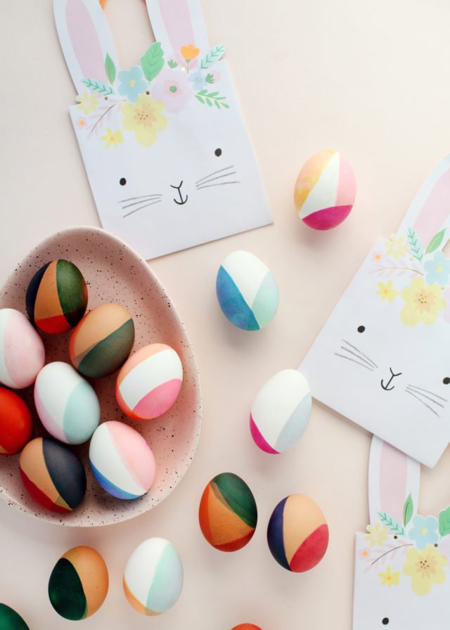 Modern colour blocked Easter eggs to make with kids