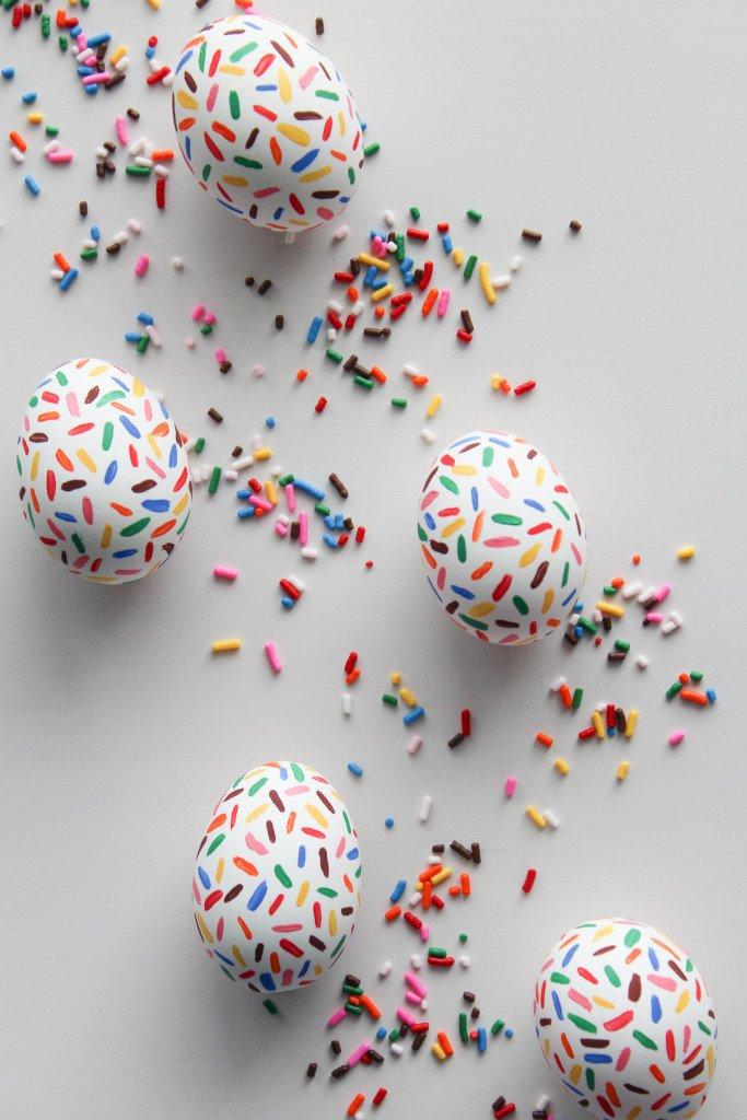 Sprinkle painted Easter eggs