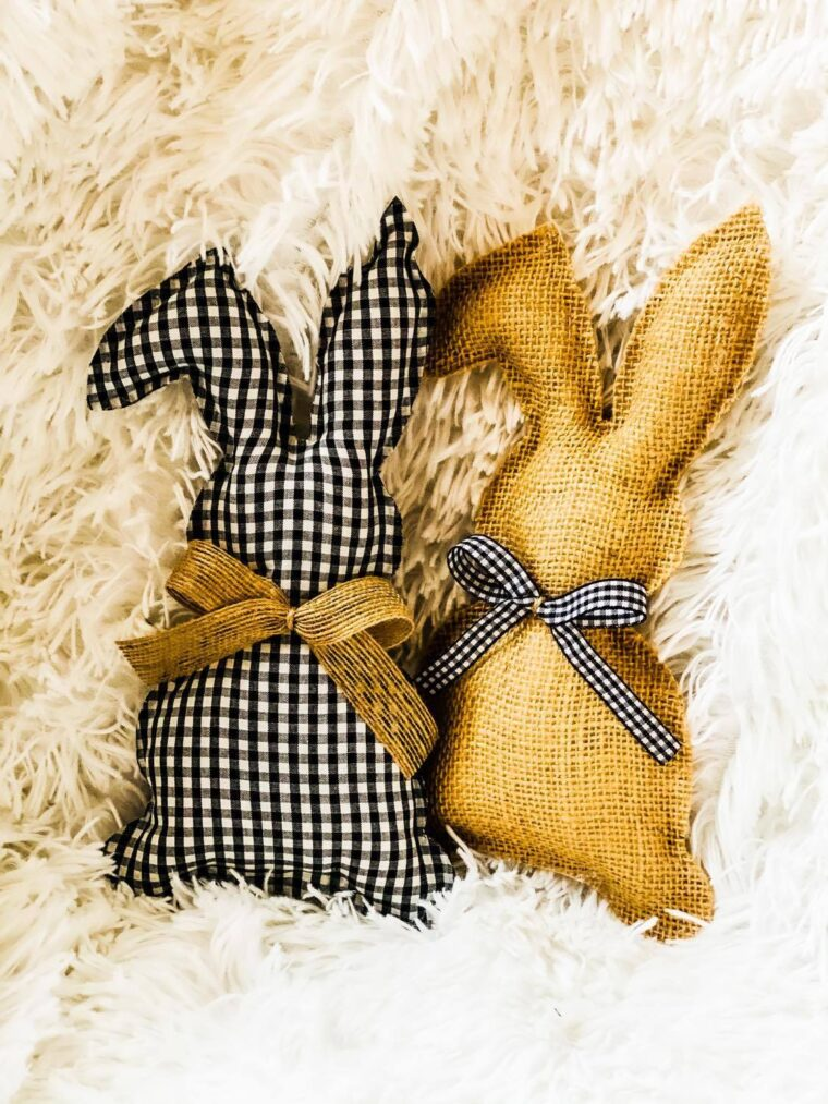 No-sew DIY fabric stuffed bunny project. Cute bunny crafts to make for Easter