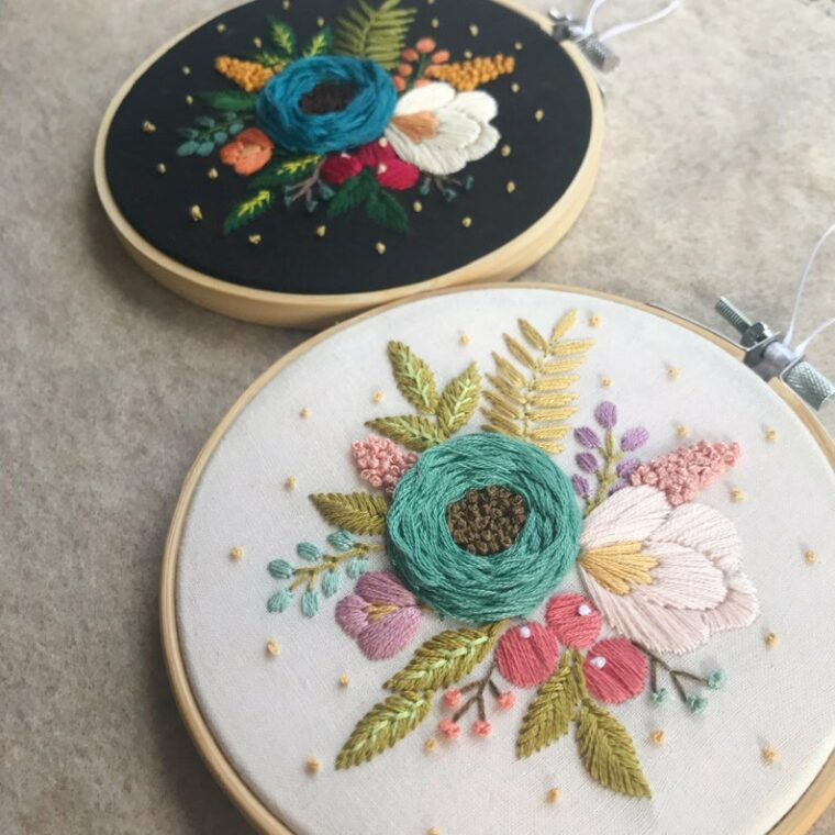 Burst of Flowers. Beautiful floral hand embroidery patterns.