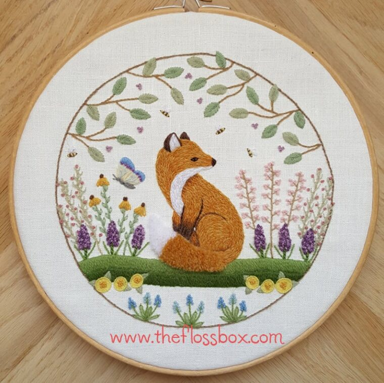 Hand embroidery pattern of a fox in a garden. 19 patterns for springtime or Easter