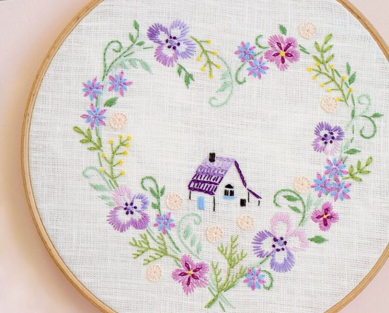 French country themed embroidery pattern with pretty purple violets