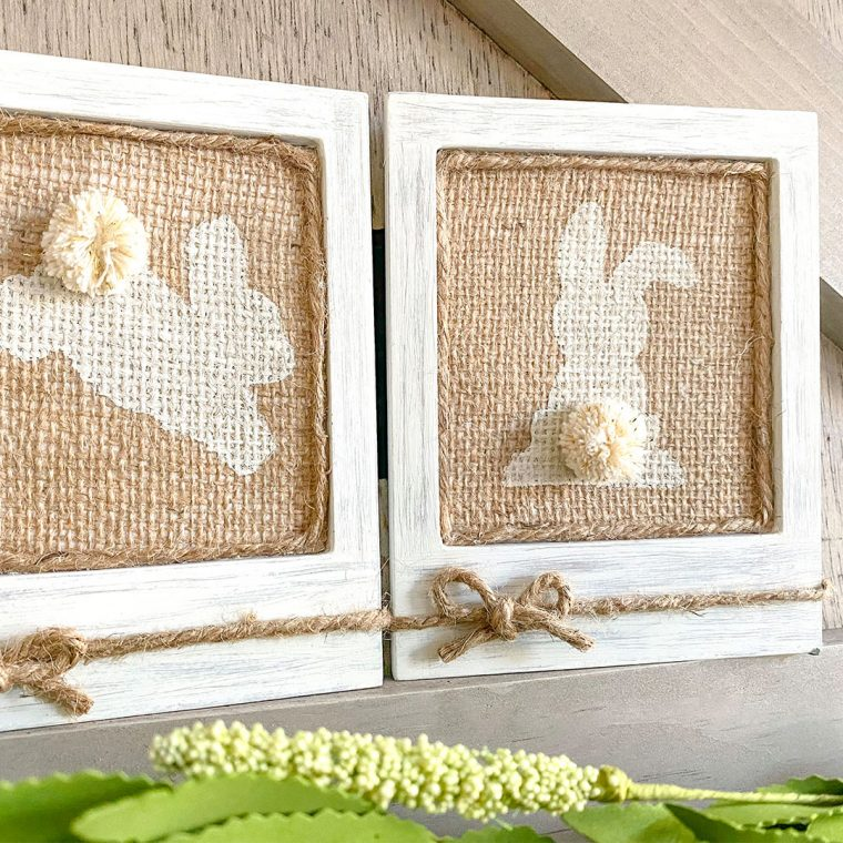 Burlap bunny frames to decorate for Easter or springtime