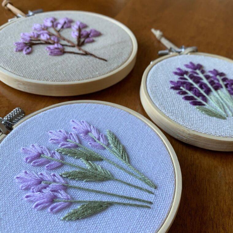 Trio of lavender stems