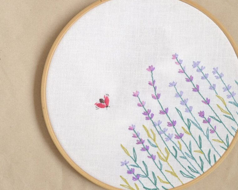 Delicate field of lavender stems embroidery pattern