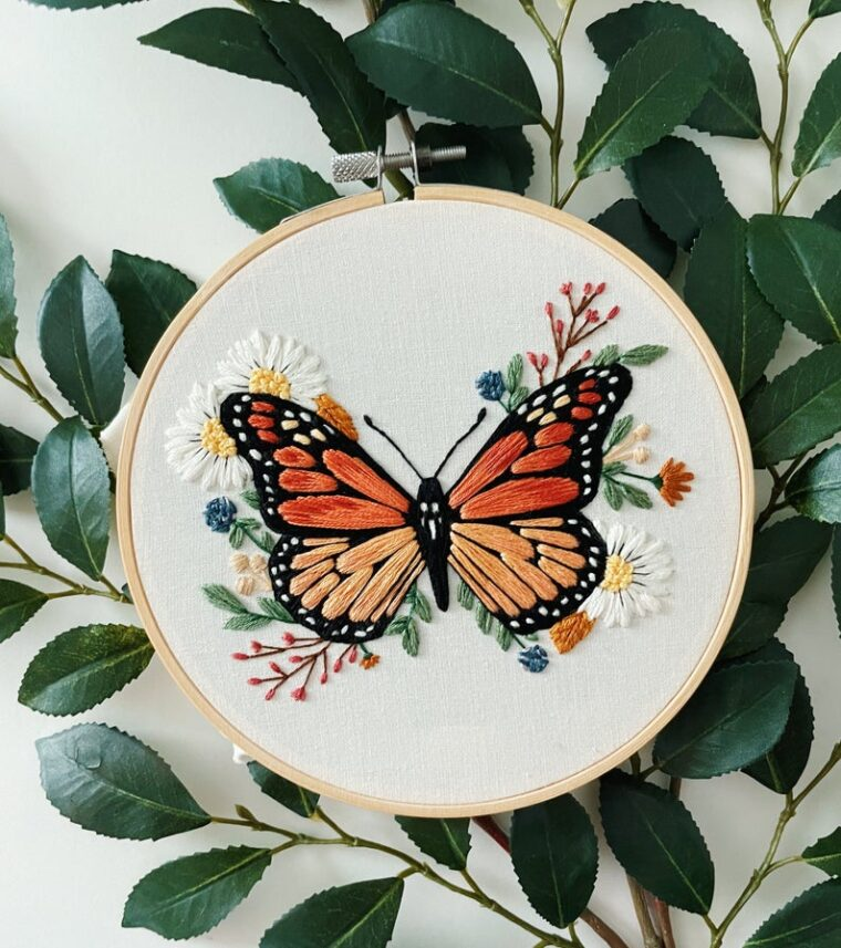 Monarch butterfly embroidery pattern for spring decor