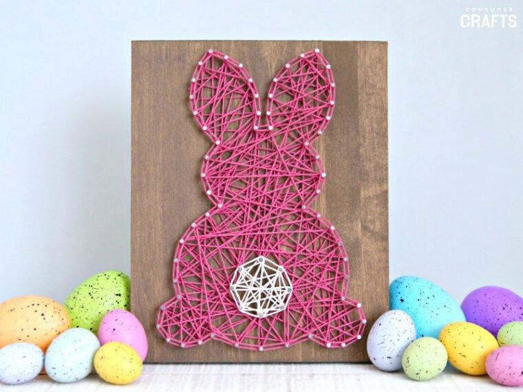 19 Fun DIY bunny crafts to make for Easter. Cute bunny string art DIY tutorial.