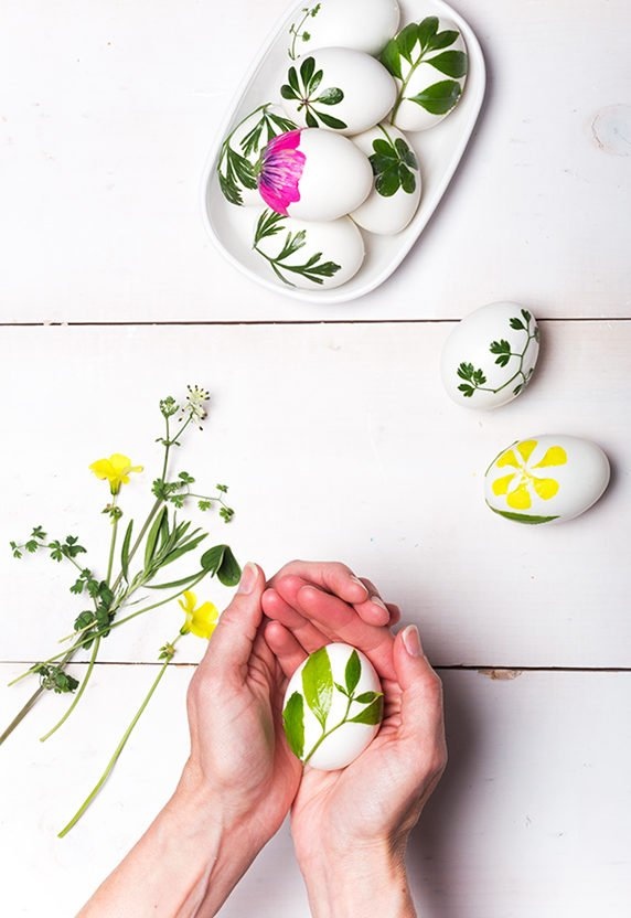 Nature inspired foliage Easter eggs