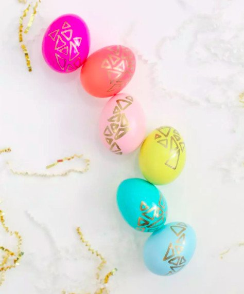 Pretty gold painted geometric themed Easter eggs