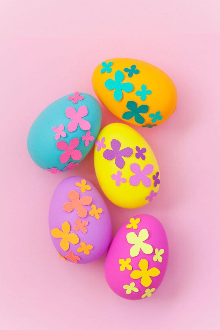 Paper flower Easter eggs DIY