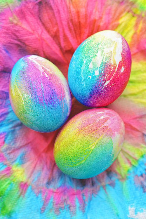 Bright tie-dyed Easter eggs