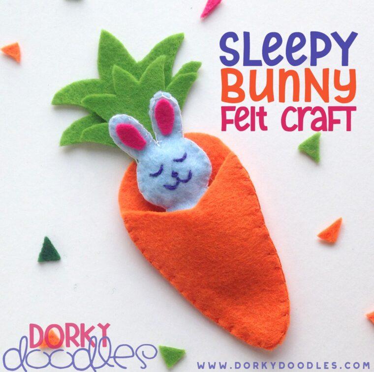 Adorable little felt sleepy bunny project. Fun bunny crafts for kids