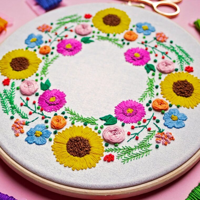Sunflower wreath floral embroidery pattern