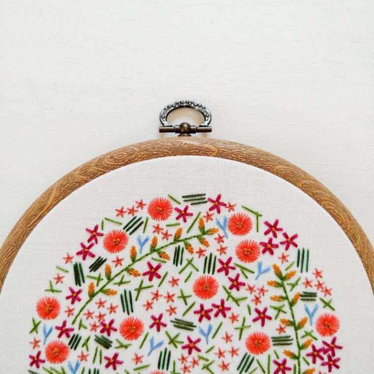 Wildflower meadow embroidery pattern for springtime