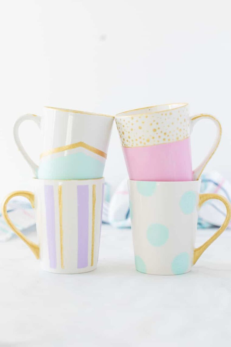 Pretty painted mugs. How to paint cute mugs for a quick last minute gift idea.