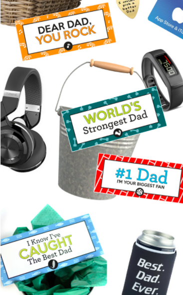 Gift basket ideas to make for Father's Day including free printable tags