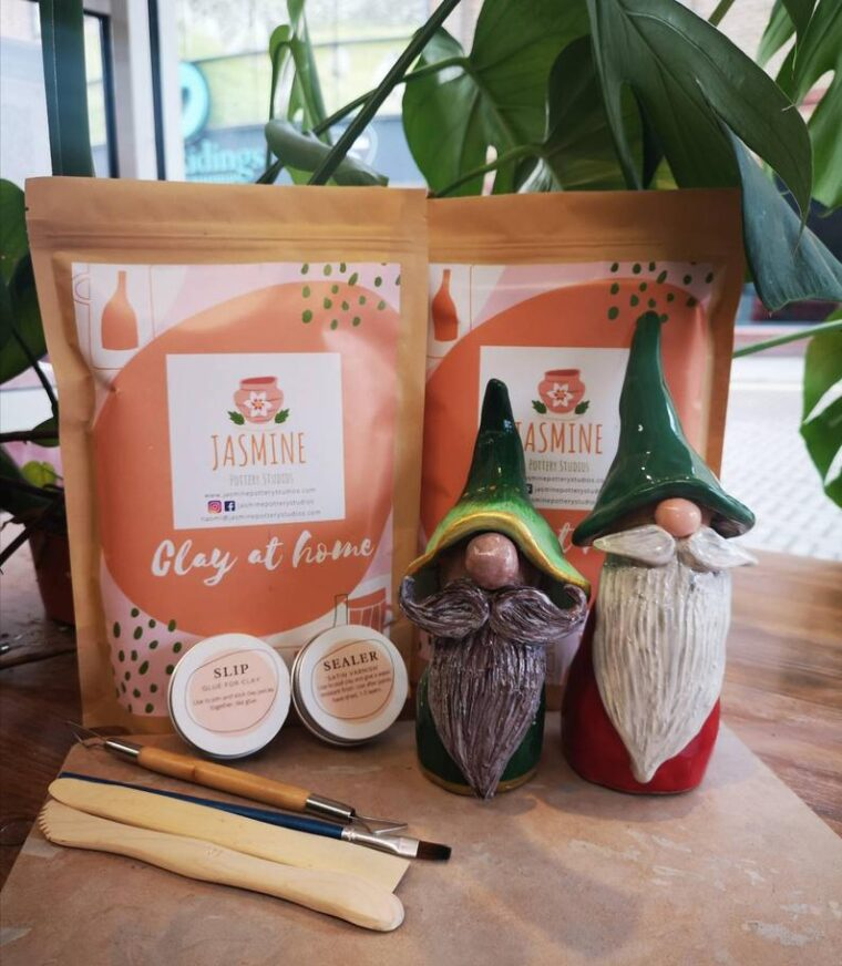 At home date night ideas for parents after the kids are in bed! Clay gnome kit for 2