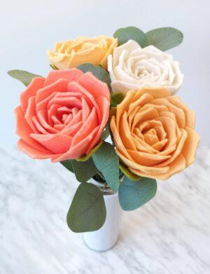 DIY Felt Rose tutorial and pdf pattern download.