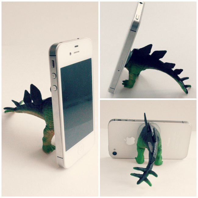 Dinosaur phone holder DIY. Father's Day gift ideas to make at the last minute. Dinosaur iphone tripod DIY