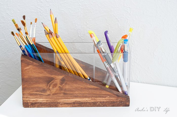Beautiful wood and acrylic pen and pencil holder. DIY gift ideas for the office