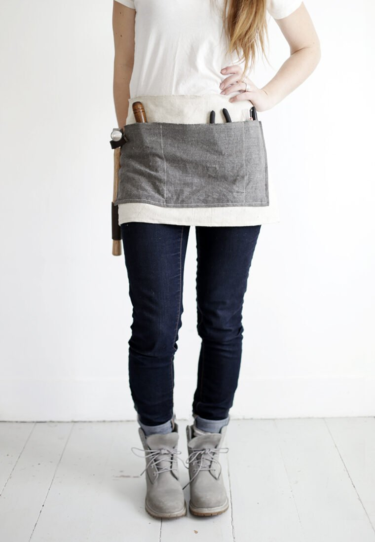 Quick sewing project to make a tool apron for Father's Day