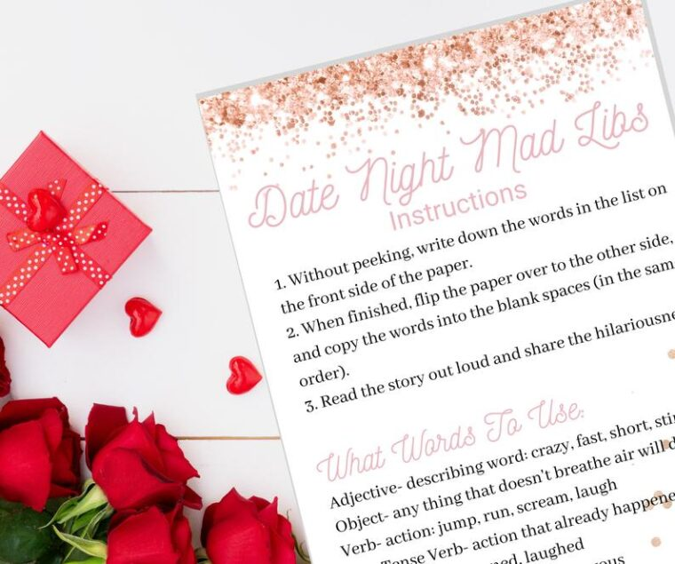 Date night mad libs game. Fun at home date night ideas for parents who can't find a babysitter!