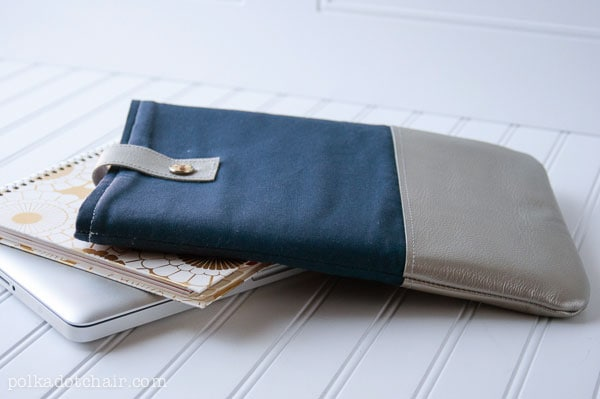 Leather trimmed laptop case. DIY sewing projects perfect gifts for men