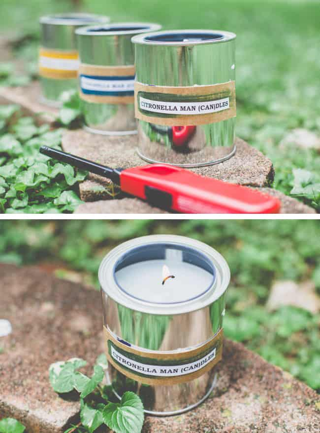 28 Last minute Father's Day gift ideas. DIY paint can citronella candles to take camping or for sitting outside