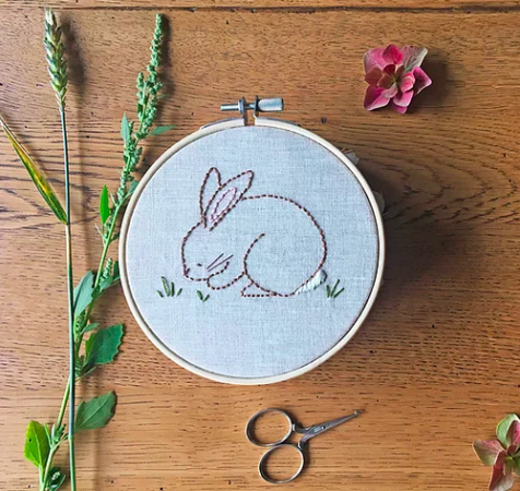 Cute little bunny embroidery pattern free download