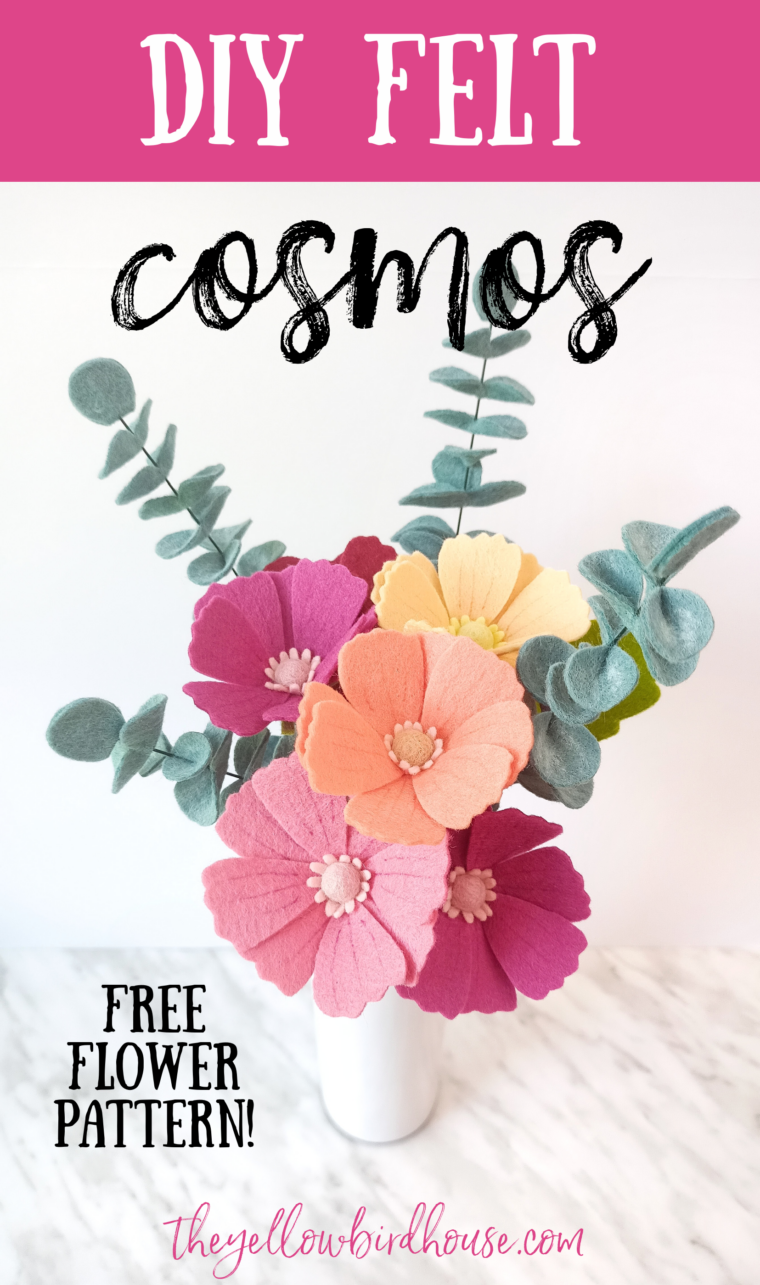 DIY Felt cosmos tutorial with free pattern download. Learn how to make this beautiful felt flower to add to a bouquet, wreath, garland or use as decor. Easy step-by-step instructions to make DIY felt flowers.