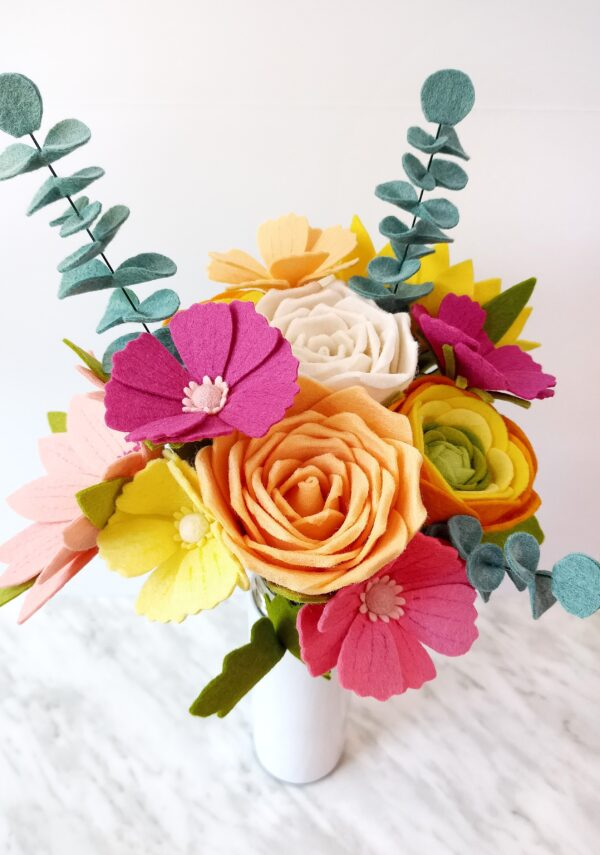Beautiful DIY Felt Flower Bouquet. Learn how to make all the flowers in this bouquet with The Yellow Birdhouse floral patterns.