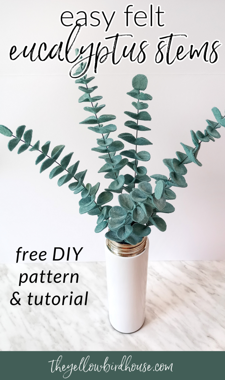 DIY Felt eucalyptus stems free pattern and tutorial. How to make easy eucalyptus leaves to use in bouquets, wreaths or garlands. Create beautiful felt floral arrangements with this DIY eucalyptus pattern.