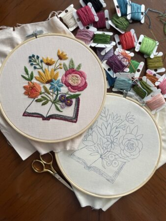 Beautiful floral book embroidery design