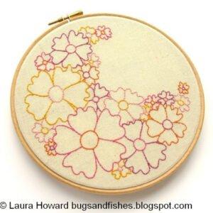 Pretty flowers embroidery pdf pattern