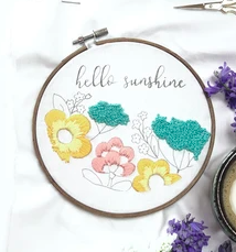 Hello Sunshine floral embroidery design free pattern