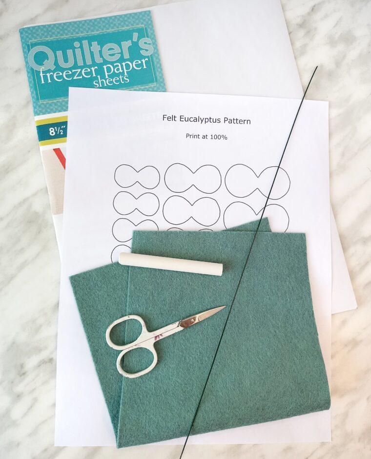 Gather up materials to make some felt eucalyptus stems