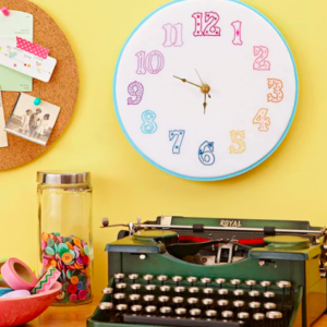 Make a cute embroidered clock with this free pattern