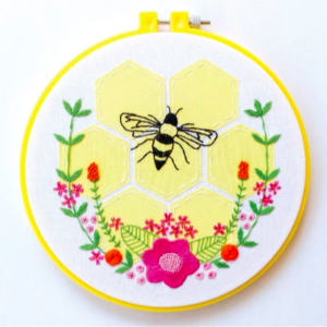 Flowers and Bee embroidery pattern PDF download for free