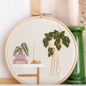 How to embroider a lovely plant hoop