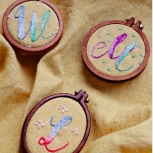 Rainbow letter embroidery designs
