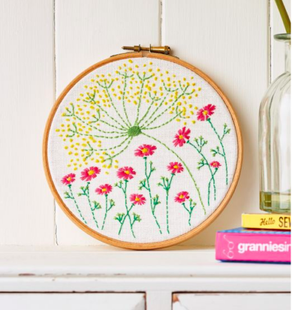 Floral hoop embroidery pattern for your home